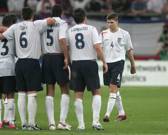 Gerrard makes the lonely walk back after failing to score his penalty during a World Cup quarter-final clash with Portugal at the 2006 World Cup