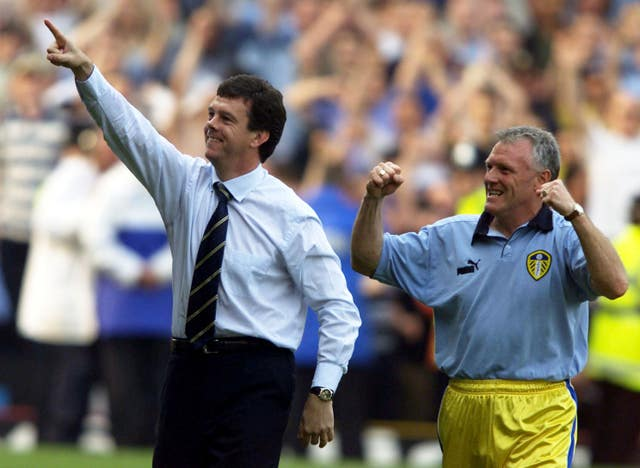O'Leary (left) guided Leeds to third place in the 1999-2000 Premier League, which took them into the Champions League qualifying rounds (Tom Hevezi/PA).
