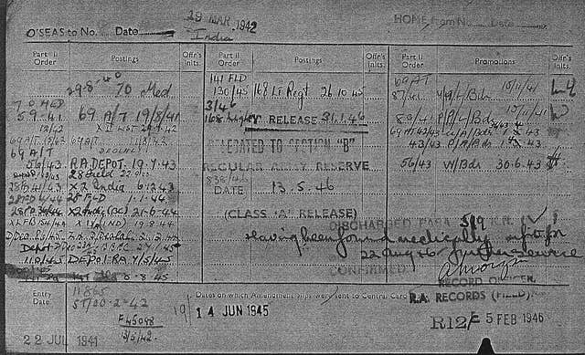 Army service records for Michael Mooney