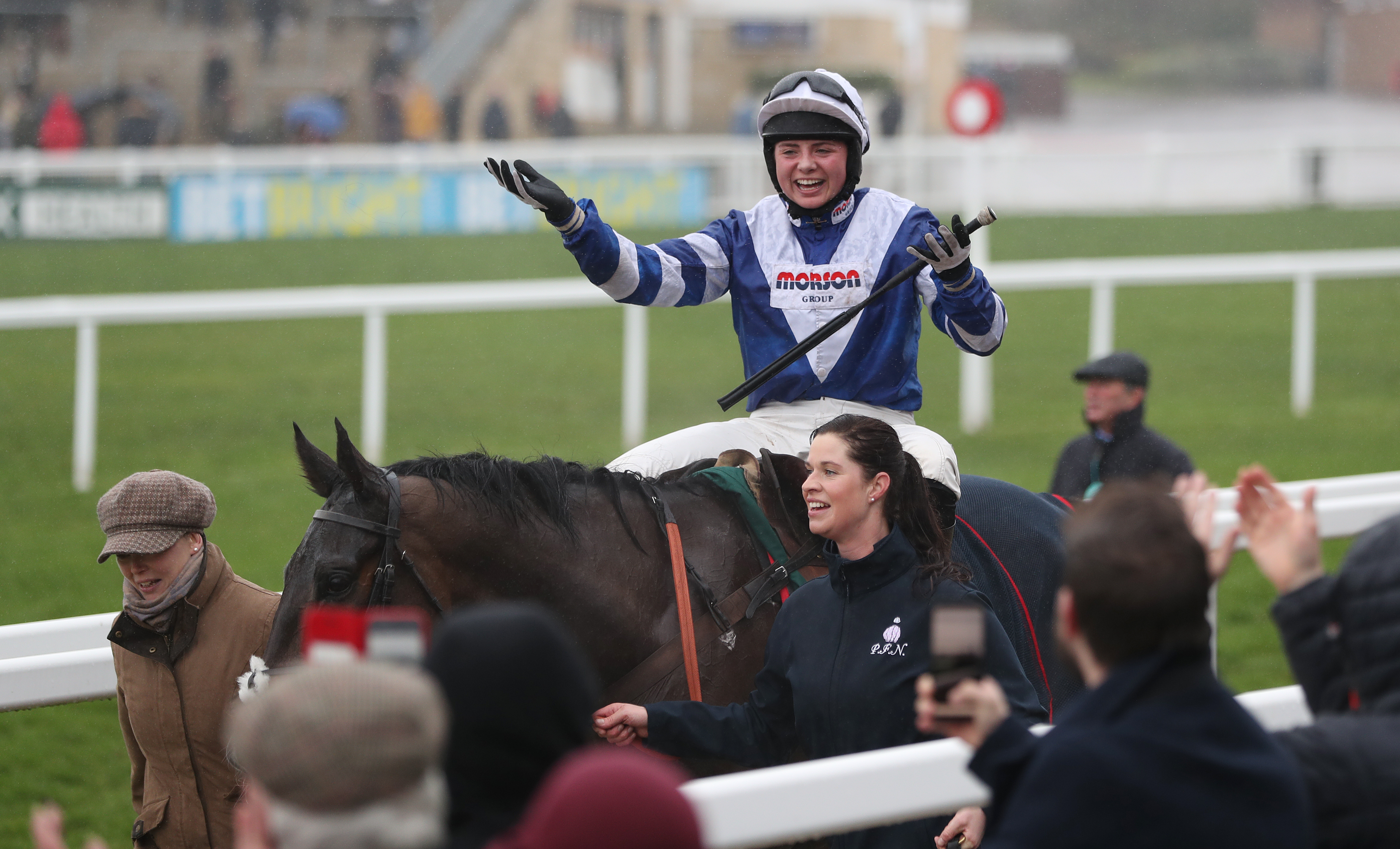 Bryony Frost toasts the crowd after victory on Frodon on the Cotswold Chase