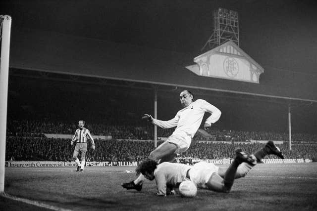 Alan Gilzean, centre, scored 133 goals in 439 appearances for Tottenham