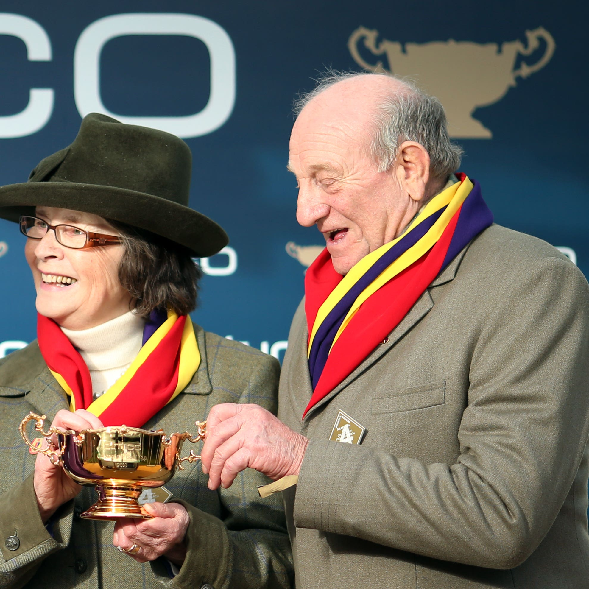 Garth Broom (right) being presented with the Cheltenham Gold Cup by Princess Anne