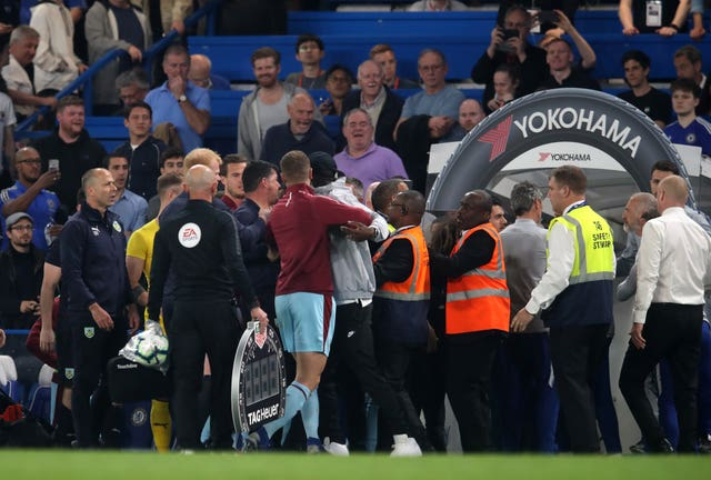 Tempers flared at the end of Chelsea's draw with Burnley