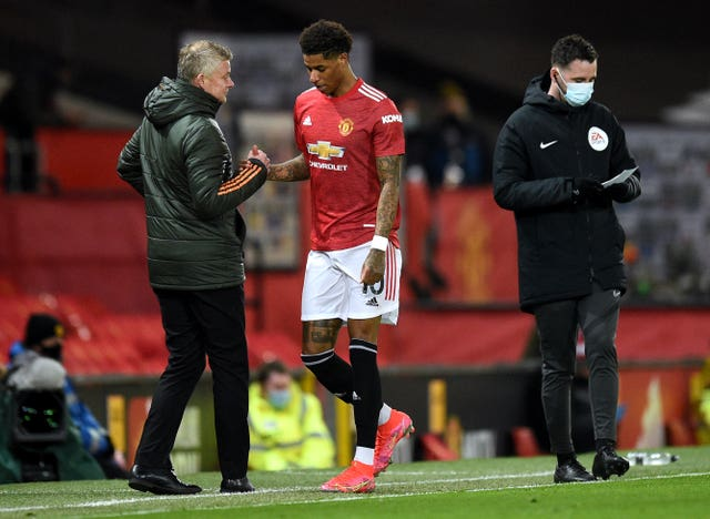 Marcus Rashford came off in discomfort against Brighton on Sunday