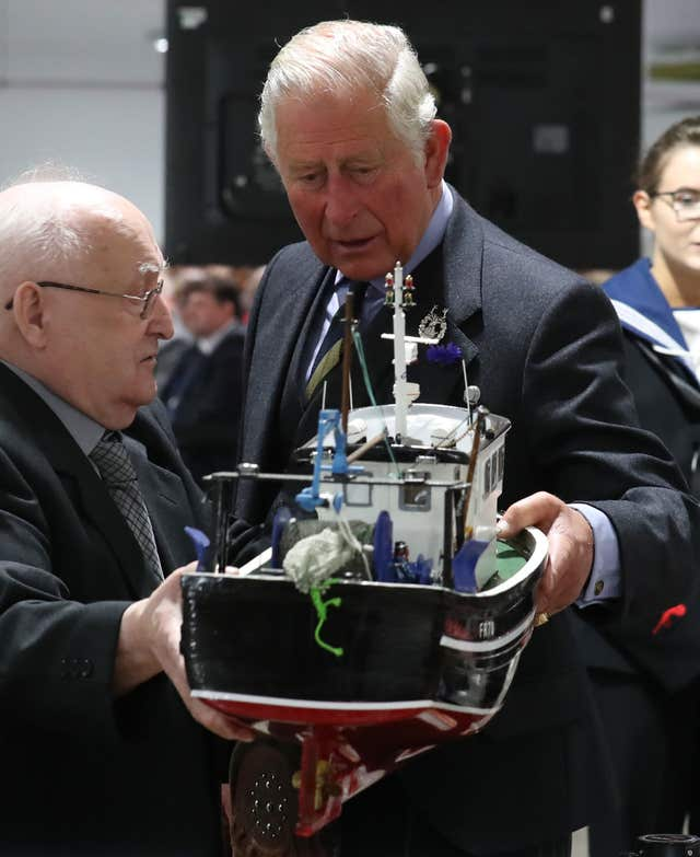 Prince of Wales shown a model fishing boat
