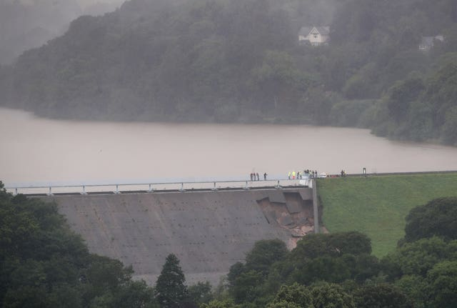 Heavy rain damaged a dam near the town of Whaley Bridge, Derbyshire (Danny Lawson/PA)