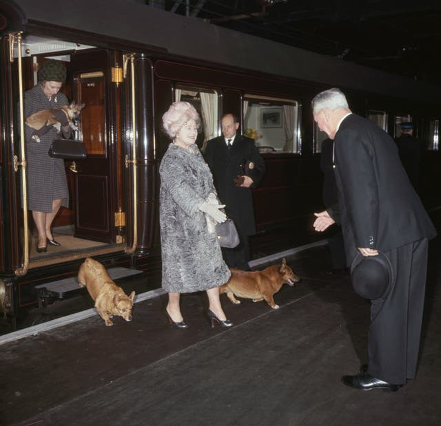The Queen Mother, with her corgis