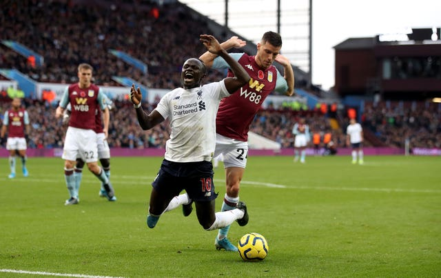 Sadio Mane was booked for diving against Aston Villa