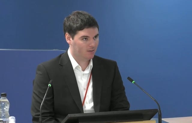 Ben Bailey, project manager at the west London block for external wall fitters and cladding specialists Harley Facades, giving evidence to the Grenfell Tower inquiry (Grenfell Tower Inquiry/PA)
