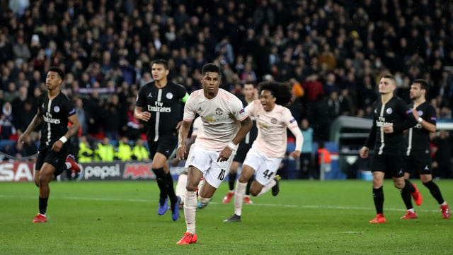 Marcus Rashford scored a contentious late penalty against Paris St Germain to send Manchester United through when they met in the Champions League last 16 in 2019 (John Walton/PA).