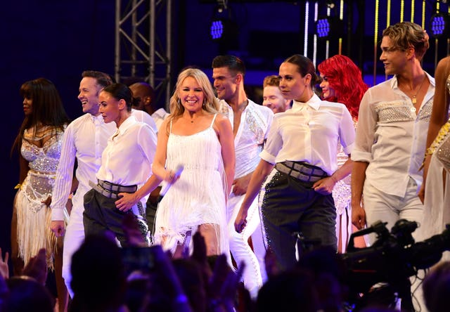 Kylie Minogue sings at the red carpet launch of Strictly Come Dancing 2019