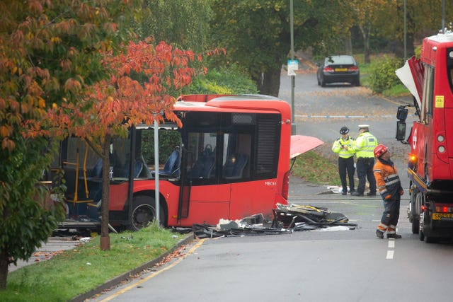 Bus accident in Orpington