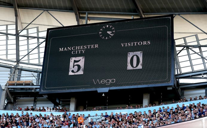 The Etihad Stadium scoreboard says it all as City ran riot last week