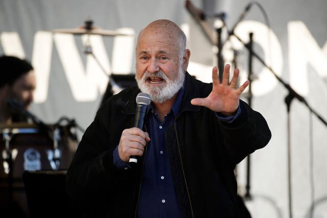 Film director Rob Reiner rallied the crowd