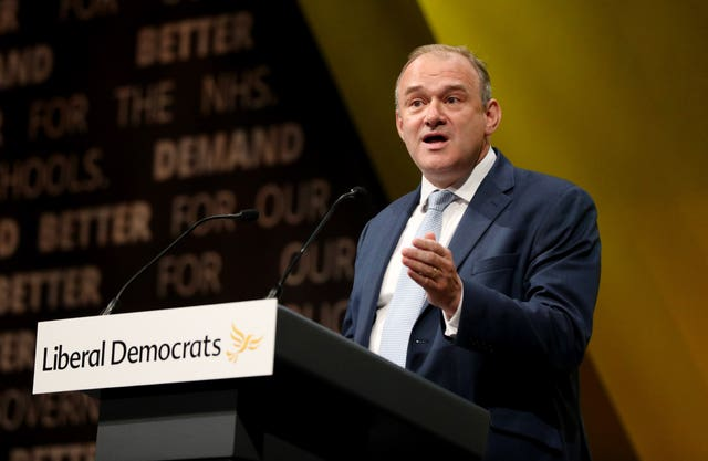 Sir Ed Davey will look to drum up support in Guildford (Jonathan Brady/PA)