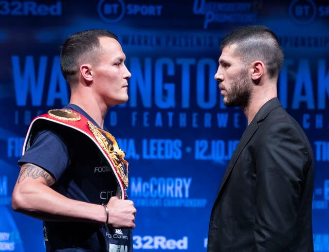 Josh Warrington, left, will defend his world title against Sofiane Takoucht, right (Danny Lawson/PA)