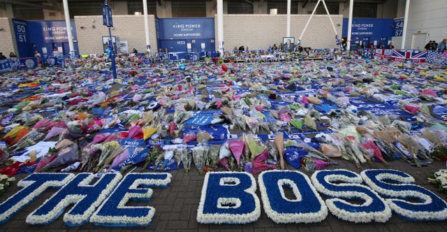 Floral tributes outside Leicester's ground