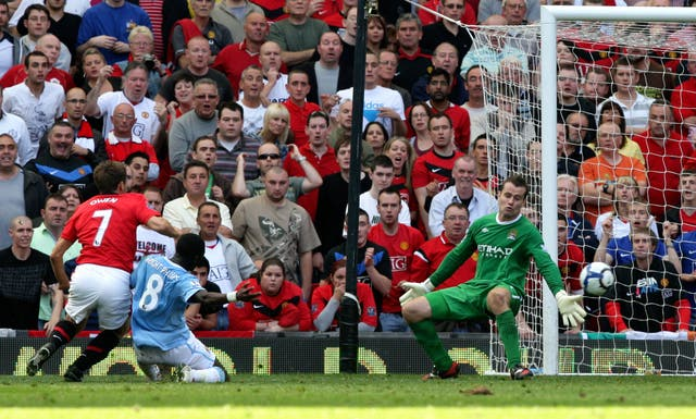 The high point of Owen's short Manchester United career came with the winner in the derby against City