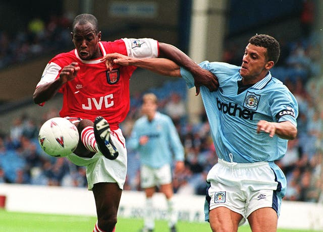 Curle (right) reached the top in his playing career with Manchester City