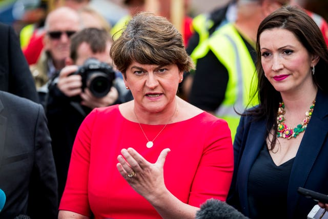 DUP leader Arlene Foster speaking to the media following a meeting with Mr Johnson
