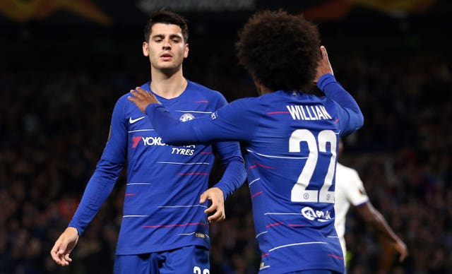 A goal from Alvaro Morata, left, was welcomed by Chelsea assistant boss Gianfranco Zola