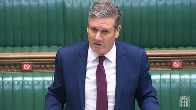 Labor leader Sir Keir Starmer speaks during Prime Minister's Questions