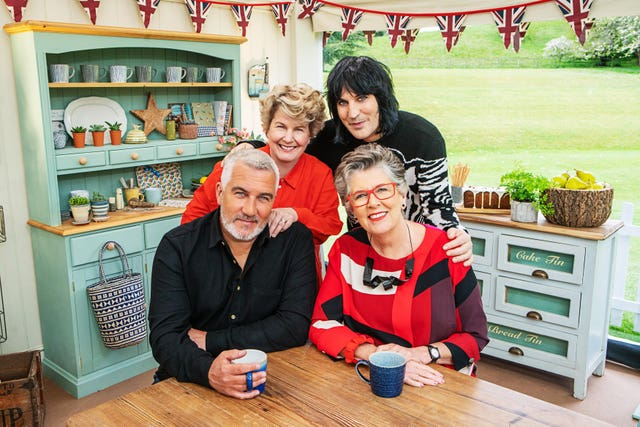 The Great British Bake Off presenters Sandi Toksvig and Noel Fielding with judges Paul Hollywood and Prue Leith