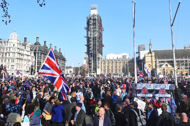 Brexit protesters in Parliament Square