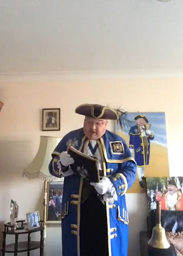 Bob Smytherman dressed in his full regalia calling on the citizens of Worthing to stay at home