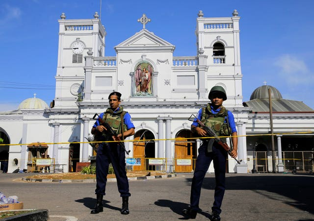 Soldiers outside St Anthony's Shrine in Colombo, Sri Lanka