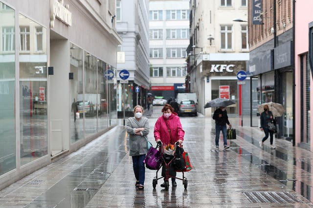 Shoppers in Belfast after shopping centres and retailers were given the green light to reopen