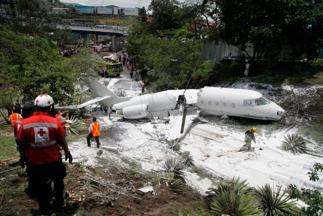 The private jet crashed off the end of the runway at Tegucigalpa's airport (Fernando Antonio/AP)