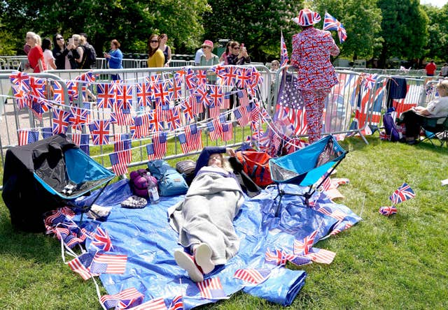 Camping out: Fans make sure they get the best spot to view the Big Day (Owen Humphreys/PA)
