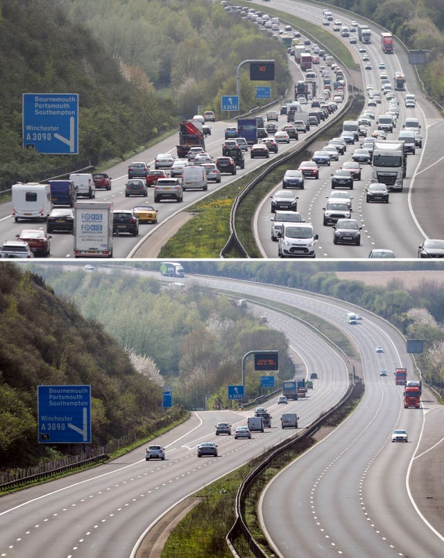 A composite photo of the M3 motorway near Winchester, Hampshire on Thursday (bottom) and on the Thursday before Easter 2019 (top) (Andrew Matthews/Steve Parsons/PA)