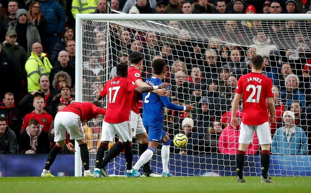 Victor Lindelof, left, scored an own goal to give Everton the lead at Old Trafford