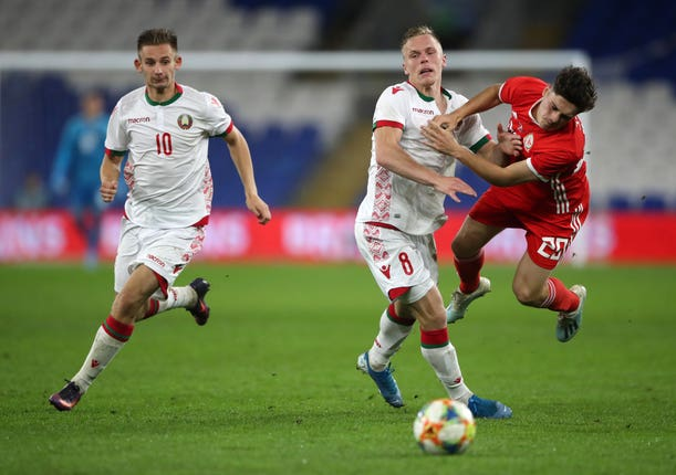 Daniel James in action for Wales against Belarus