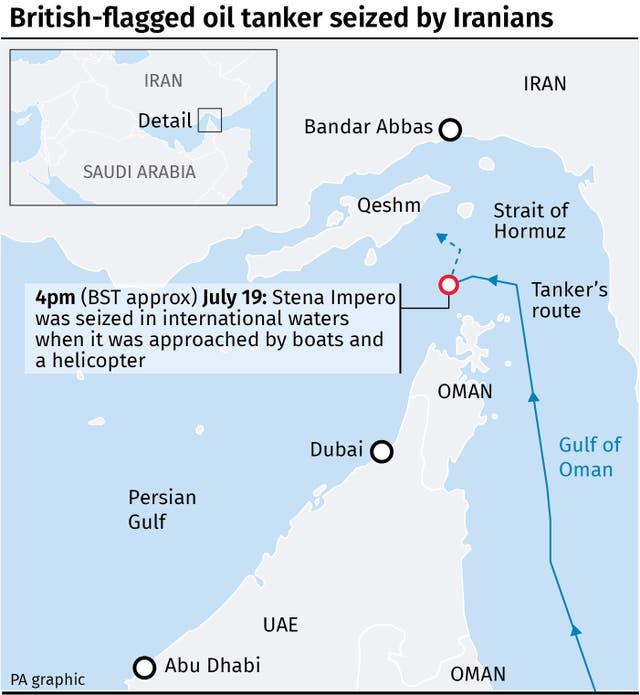 Map locates where British-flagged oil tanker seized by Iranians