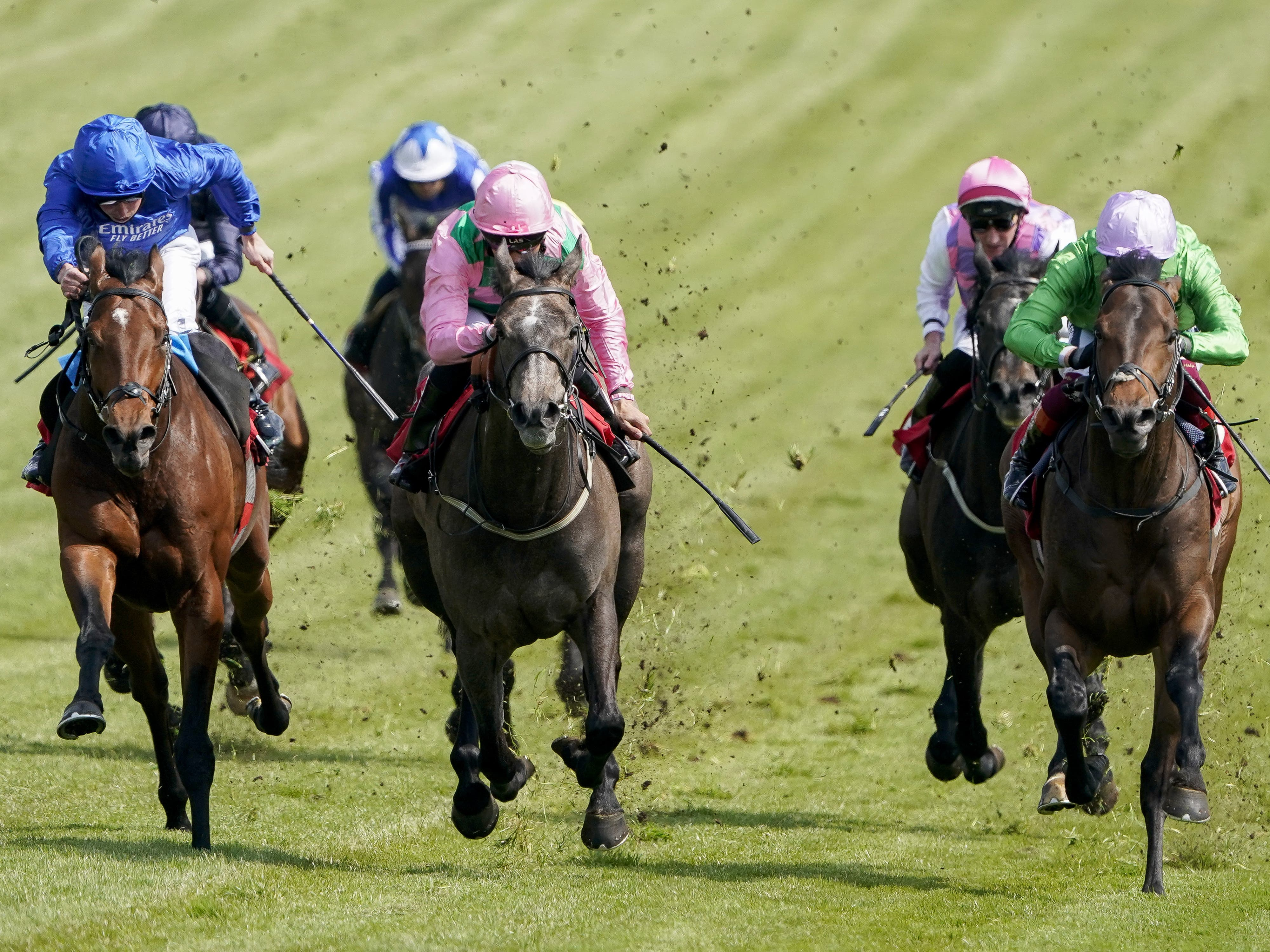 Wirko (left, blue) winning the Blue Riband Trial at Epsom (Alan Crowhurst/PA)