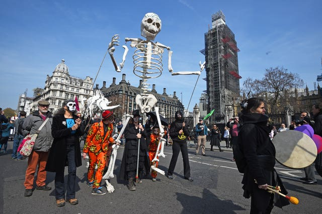 Demonstrators during an Extinction Rebellion protest in Parliament Square in London