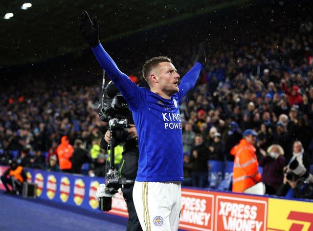 Jamie Vardy celebrates scoring against Aston Villa