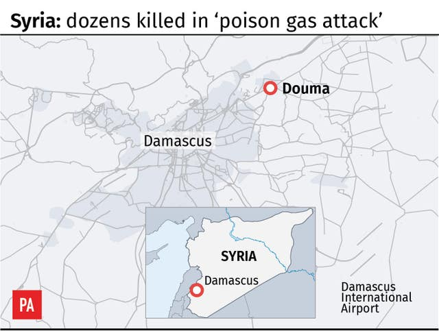 Maps alleged poison gas attack in Syria