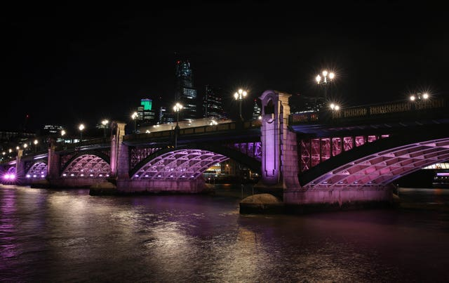 Southwark Bridge, transformed to launch the first phase of Illuminated River