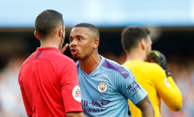 Gabriel Jesus appeals to referee Michael Oliver after his goal is ruled out