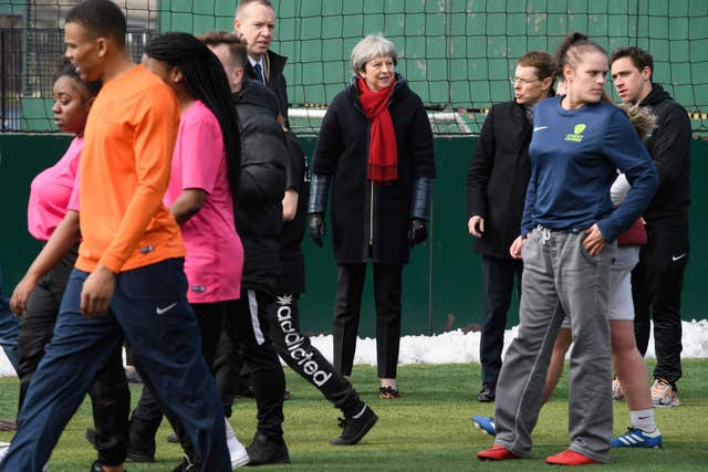 Prime Minister Theresa May at the Street League at People Plus employment charity in Birmingham (Leon Neal/PA)