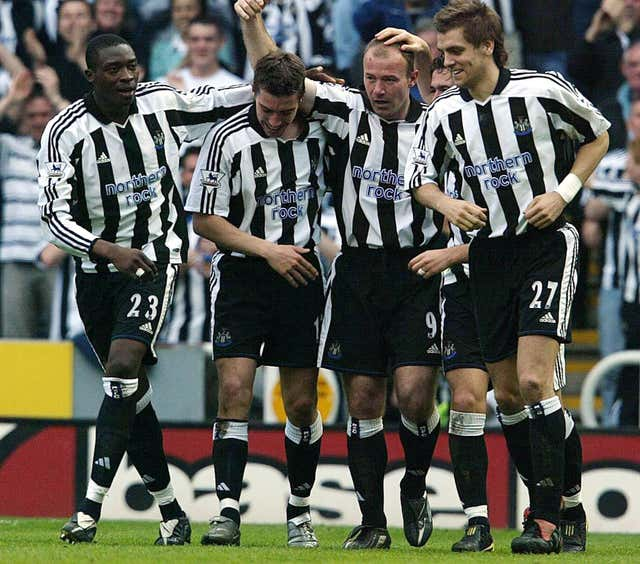 Newcastle's Alan Shearer celebrates after scoring against Chelsea