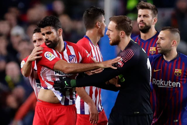 Diego Costa was sent off for Atletico Madrid