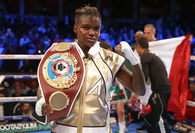 Adams with her WBO belt during her final bout in September.