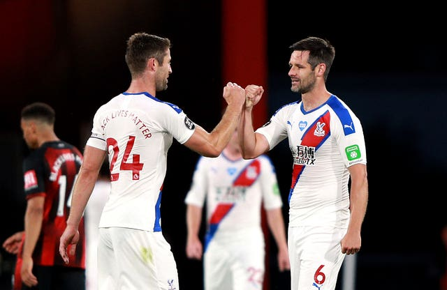 Crystal Palace's Gary Cahill and Scott Dann celebrate the win
