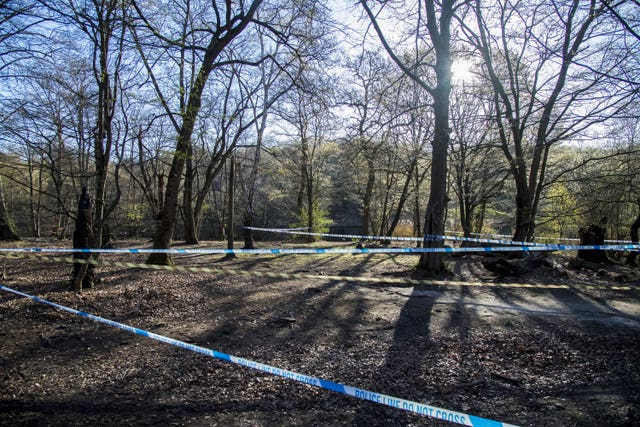 Police tape around Wake Valley pond in Epping Forest