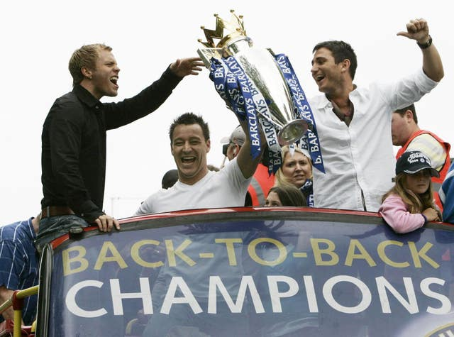 And Lampard was lifting the league trophy again at the end of the 2005-06 season as Chelsea went back-to-back